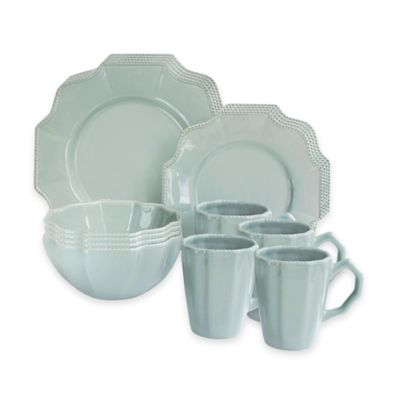 American Atelier Scallop Blue Mist 16-Piece Dinnerware Set