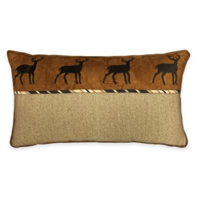 HiEnd Accents Ashbury Whitetail Deer Oblong Embroidered Throw Pillow