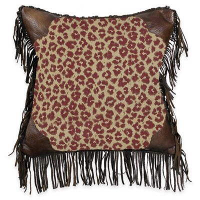 HiEnd Accents Austin Fringed Leopard Square Throw Pillow