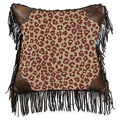 Buy Hiend Accents Austin Fringed Leopard Square Throw