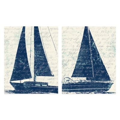 For Sail 16-Inch x 20-Inch Embellished Canvas Wall Art (Set of 2)