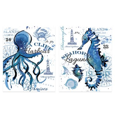 Sea Cliff Octopus/Seahorse 16-Inch x 20-Inch Embellished Canvas Wall Art (Set of 2)