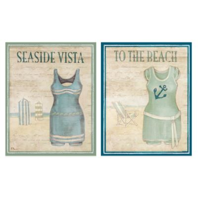 Vintage Bathing Suits 16-Inch x 20-Inch Embellished Canvas Wall Art (Set of 2)