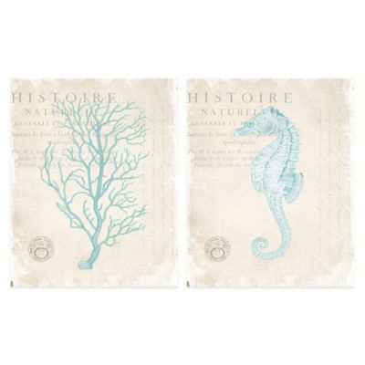 Blue Coral/Blue Seahorse 16-Inch x 20-Inch Embellished Canvas Wall Art (Set of 2)