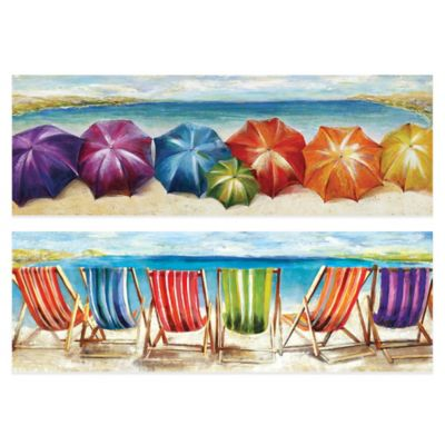 Shade/Sunshine 12-Inch x 36-Inch Embellished Canvas Wall Art (Set of 2)