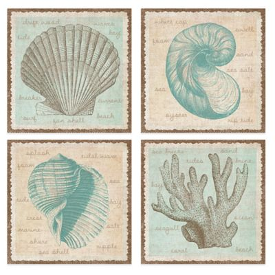 Sea Study 12-Inch x 12-Inch Embellished Canvas Wall Art (Set of 4)
