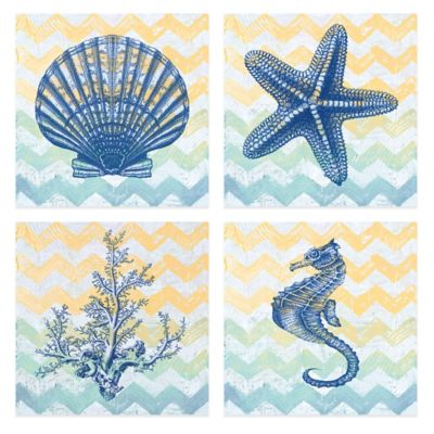 Chevron Sea 12-Inch x 12-Inch Embellished Canvas Wall Art (Set of 4)