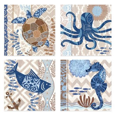 Barrier Reef 12-Inch x 12-Inch Embellished Canvas Wall Art (Set of 4)