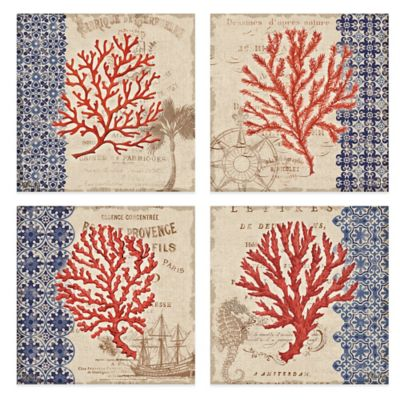 Burlap Coral 12-Inch x 12-Inch Embellished Canvas Wall Art (Set of 4)