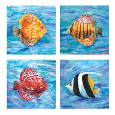 Tropical Colors 12-Inch x 12-Inch Embellished Canvas Wall Art (Set of 4)