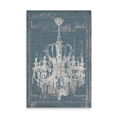 Distressed Chandelier Canvas Wall Art in Blue