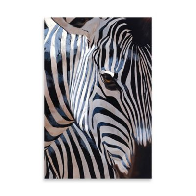 Zebra Stripes Embellished Canvas Wall Art