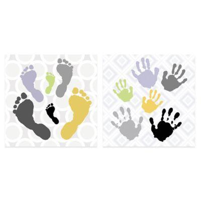 Footprint on Circles/Handprint on Diamonds Canvas Art (Set of 2)