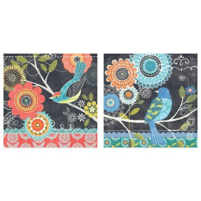 Chalk Bird Blue/Red Flower Canvas Wall Art (Set of 2)