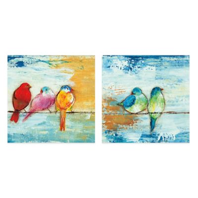 Song Birds Canvas Wall Art (Set of 2)