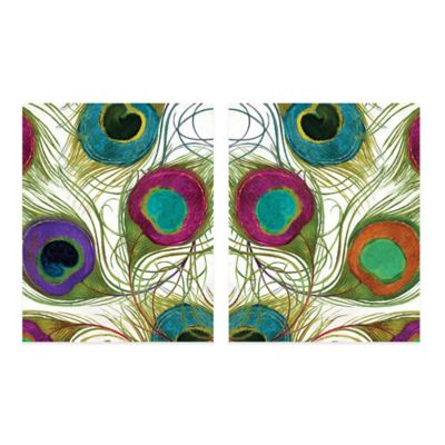 Peacock Feathers Embellished Wall Art (Set of 2)