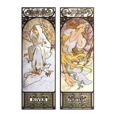 Hiver/Printemps Embellished Canvas Wall Art (Set of 2)