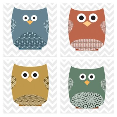 Chevron Owls Deep 1 Embellished Canvas Wall Art (Set of 4)