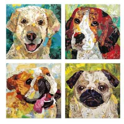 4-Piece Dog Embellished Canvas Wall Art
