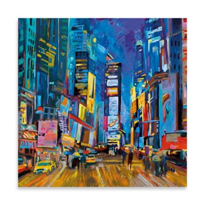 New York Evening Square Embellished Canvas Wall Art