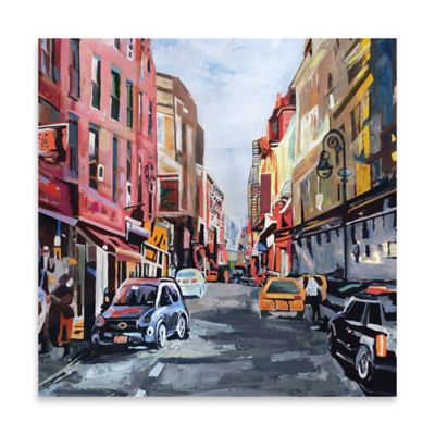 New York Morning Square Embellished Canvas Wall Art