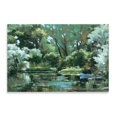 Blue Canoe Embellished Canvas Wall Art