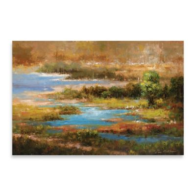 Sunlit Marsh Embellished Canvas Wall Art