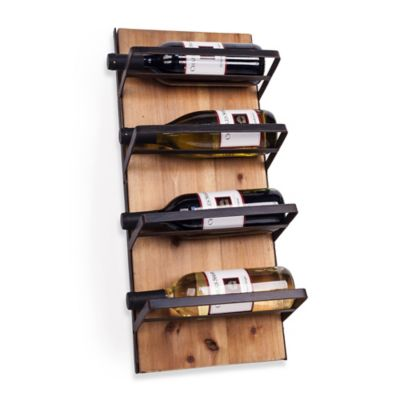 Dayna B® 4-Bottle Wood and Iron Rustic Wall Mount Wine Holder