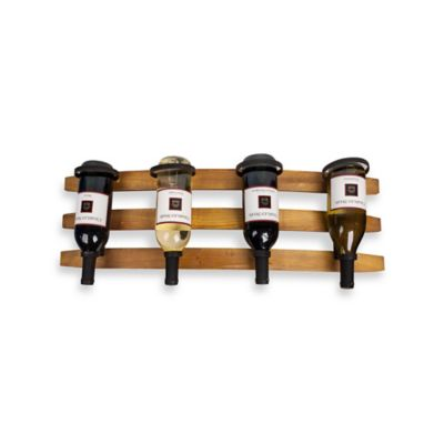 Dayna B® 4-Bottle Stave Rustic Horizontal Wall Mount Wine Holder