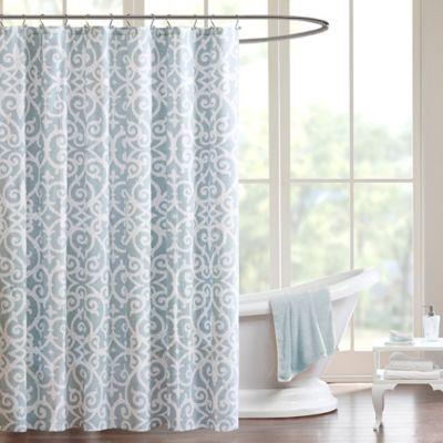 Madison Park Pure Elena Shower Curtain in Aqua