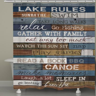 """Laural Home® """"Lake Rules"""" Shower Curtain"""