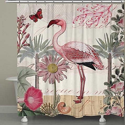 Laural Home 174 Botanical Flamingo Shower Curtain Bed Bath