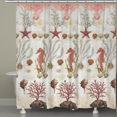 Laural Home® Ornate Coral Shower Curtain