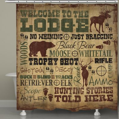 "Laural Home® ""Welcome to the Lodge"" Shower Curtain"