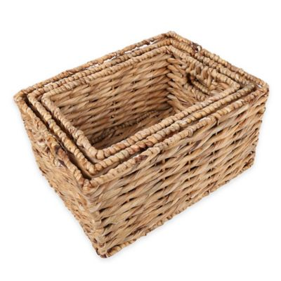 3-Piece Rectangular Water Hyacinth Wicker Basket Set in Natural