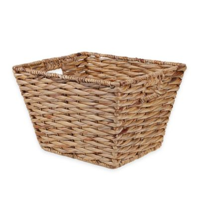 Medium Rectangular Tapered Water Hyacinth Wicker Basket in Natural