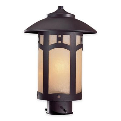 Minka Lavery® Harveston Manor 1-Light Post-Mount Outdoor Lantern in Bronze with Glass Shade
