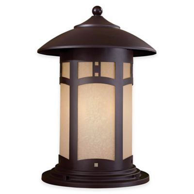 Minka Lavery® Harveston Manor 3-Light Pier-Mount Outdoor Lantern in Bronze with Glass Shade