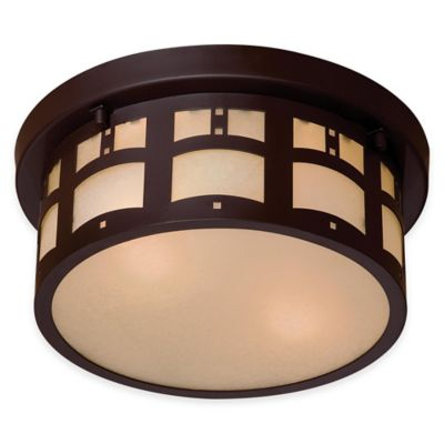 Minka Lavery® Harveston Manor 2-Light Flush-Mount Outdoor Lantern in Bronze with Glass Shade