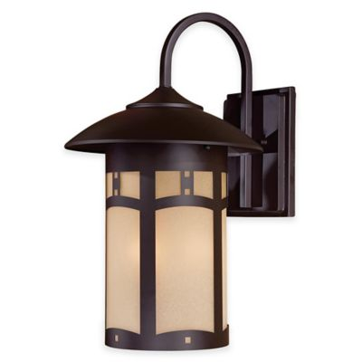 Minka Lavery® Harveston Manor 3-Light Wall-Mount Outdoor Lantern in Bronze with Glass Shade
