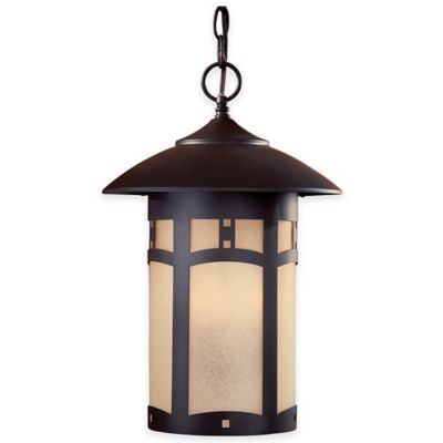 Minka Lavery® Harveston Manor 3-Light Chain Hung Outdoor Lantern in Bronze with Glass Shade