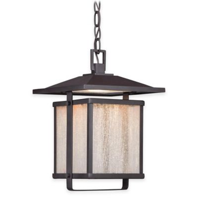 Minka Lavery® Hillsdale 1-Light Chain Hung Outdoor LED Lantern in Bronze with Glass Shade