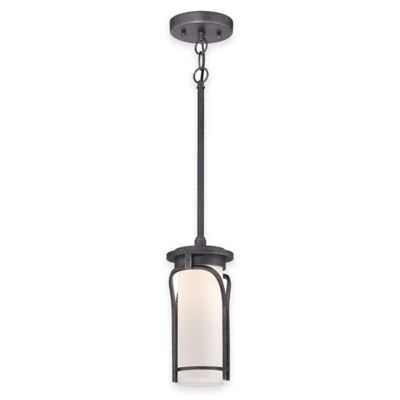 Minka Lavery® Holbrook 1-Light Rod Hung Outdoor LED Lantern in Silver with Glass Shade