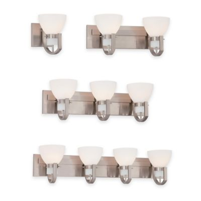 Minka Lavery® Hudson Bay 1-Light Wall-Mount Bath Fixture in Brushed Nickel with Glass Shade