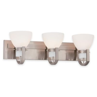 Minka Lavery® Hudson Bay 3-Light Wall-Mount Bath Fixture in Brushed Nickel with Glass Shade