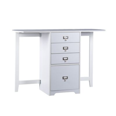 Southern Enterprises Fold-Out Organizer and Craft Desk in White