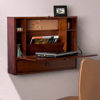 Southern Enterprises Wall Mount Laptop Desk in Brown Mahogany