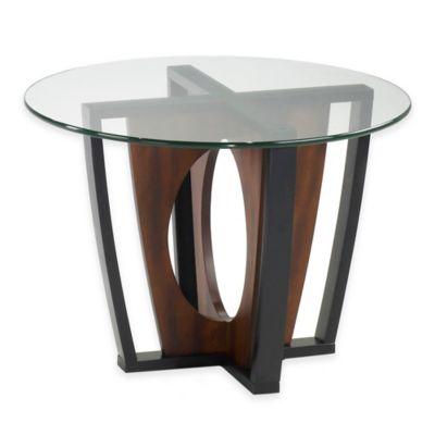 Armen Living Navis Round Glass Top Lamp Table in Espresso