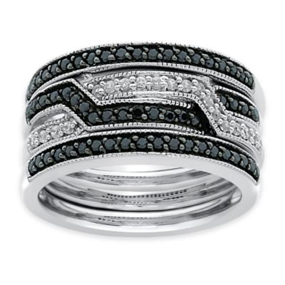 Sterling Silver .50 cttw Black and White Diamond Size 5 Ladies' Stackable Twist Bands
