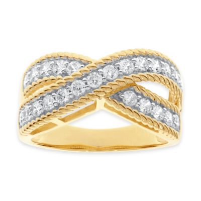 10K Yellow Gold 1.0 cttw Diamond Size 6 Ladies' Braided Crossover Band